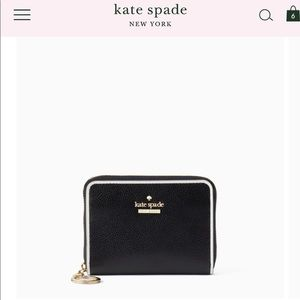 Kate Spade Black Leather wallet with keychain-NWT